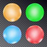 Комплект красочных шариков изолированных на прозрачной предпосылке вектор Стоковые Изображения RF