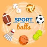 Комплект красочных шариков спорта на желтой предпосылке Шарики для рэгби, волейбола, баскетбола, футбола, бейсбола, тенниса и bad Стоковое Изображение