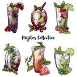 Комплект 6 красочных эскизов различных коктеилей mojito иллюстрация штока