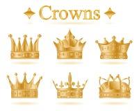 Комплект кроны короля золота также вектор иллюстрации притяжки corel Стоковая Фотография
