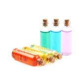 Комплект крошечных изолированных бутылок пробирки Стоковые Фото