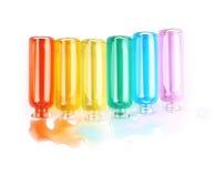 Комплект крошечных изолированных бутылок пробирки Стоковые Изображения RF