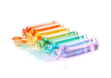 Комплект крошечных изолированных бутылок пробирки Стоковое Изображение
