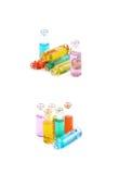 Комплект крошечных изолированных бутылок пробирки Стоковая Фотография
