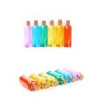 Комплект крошечных изолированных бутылок пробирки Стоковая Фотография RF