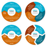 Комплект круговой диаграммы Концепция дела с 2 и 4 вариантами Круглое infographic Стоковое Фото