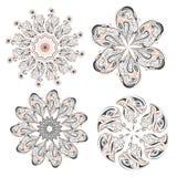 Комплект круговых картин флористических орнаментов иллюстрация вектора