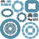 Комплект кругом и овальные рамки и винтажный дизайн el Стоковые Изображения