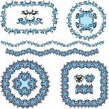 Комплект кругом и овальные рамки и винтажный дизайн el Стоковое Изображение