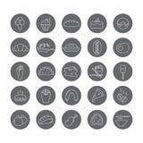 Комплект круглых значков с едой Стоковые Изображения RF