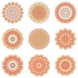 Комплект круглых индийских элементов Иллюстрация штока