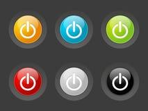 Комплект круглых лоснистых кнопок 3 иллюстрация вектора