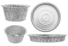 Комплект круглых подносов ресторанного обслуживании на белой предпосылке Стоковые Изображения RF