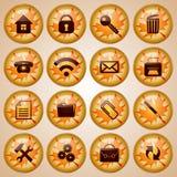 Комплект круглых стеклянных кнопок офиса украшенных на осень иллюстрация вектора