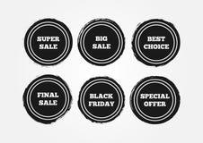 Комплект круглых стикеров grunge Окончательная большая супер продажа, черная пятница, специальное предложение, самый лучший выбор иллюстрация вектора
