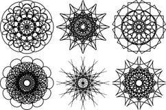 Комплект 6 круглых форм спирографа элементы конструкции предпосылки 4 снежинки белой иллюстрация штока