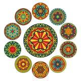 Комплект круглых этнических картин иллюстрация штока