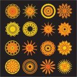 Комплект круглых элементов doodle на черной предпосылке Стоковое фото RF