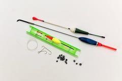 Комплект крюков, sinkers и удя линии Стоковая Фотография RF