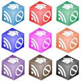 Комплект кубиков с иконами Стоковое Фото