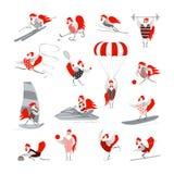 Комплект куриц и петухов шаржа вектора Стоковое Фото