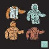 Комплект курток в doodle стиля Стоковая Фотография