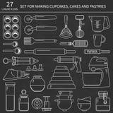 Комплект кухни выпечки линейных значков Стоковые Фотографии RF