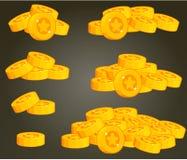 Комплект куч монетки для UI иллюстрация вектора