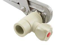 Комплект клапана воды и ключ для труб года сбора винограда Стоковое фото RF
