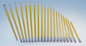 Комплект классических желтых карандашей с резиной Стоковое Изображение