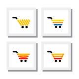 Комплект магазинной тележкаи ecommerce или вагонетка - vector значки Стоковое Изображение RF