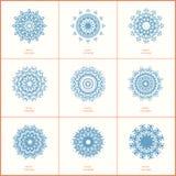 Комплект мандалы цветка цвета 9 син восточной на белом backgrou иллюстрация штока