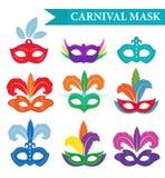 Комплект маски Masquerade, плоский стиль Собрание масленицы изолированное на белой предпосылке партия Иллюстрация вектора, искусс Стоковое Изображение RF