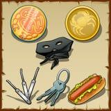 Комплект маск, медальонов и других деталей Стоковое Изображение RF