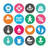 Комплект материнства, беременность и младенец заботят значки Стоковое Изображение RF