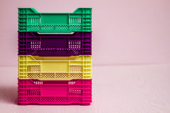 Комплект малых пластичных коробок Стоковое Изображение