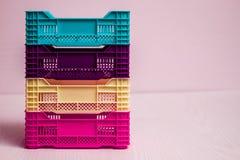 Комплект малых пластичных коробок Стоковые Изображения