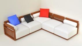 Комплект мебели живущей комнаты бежевый стоковые фотографии rf