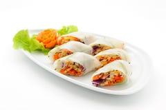 Комплект международных блюд аранжированных для поставлять еду Стоковая Фотография