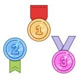 Комплект медалей вектора Стоковые Изображения RF