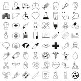 Комплект 64 медицинских значков, тонкая линия стиль, иллюстрация вектора бесплатная иллюстрация