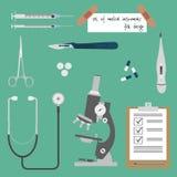 Комплект медицинских инструментов иллюстрация вектора