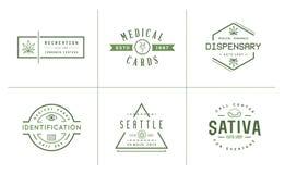 Комплект медицинского знака марихуаны конопли или шаблон ярлыка в Vect иллюстрация штока