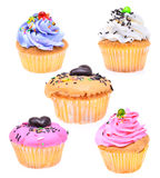Комплект мини вкусного пирожного изолированного на белой предпосылке Стоковые Фотографии RF