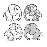 Комплект милого маленького слона с орнаментами Нарисованная вручную иллюстрация для книжка-раскраски иллюстрация штока