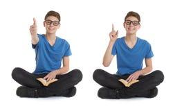 Комплект милого мальчика подростка над белизной изолировал предпосылку Стоковое Фото