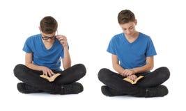 Комплект милого мальчика подростка над белизной изолировал предпосылку Стоковая Фотография
