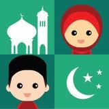 Комплект милого мусульманского характера и элементов Стоковые Фото