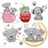 Комплект милого плюшевого медвежонка шаржа бесплатная иллюстрация