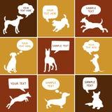 Комплект милого силуэта собак с пузырями речи Стоковые Фото